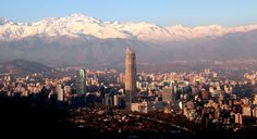 Santiago Skyline with Snowcapped Andes
