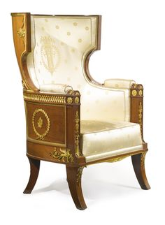 An Empire style ormolu-mounted mahogany bergère à oreilles late 19th/early 20th century