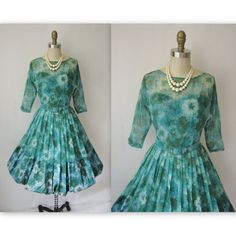 1960's Chiffon Dress // Vintage Floral Garden by TheVintageStudio, $84.00