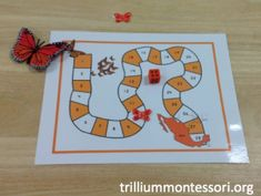 Monarch migration board game - butterfly hair clips as game pieces (dollar store)
