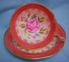 Aynsley-Large-PINK-Cabbage-Rose-Gold-Gilt-Salmon-Cup-amp-Saucer