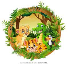 "Stock vektor ""Happy Animals Frame Forest"" (bez autorských poplatků) 1108063955 Jungle Illustration, Sleeping Through The Night, Funny Animal Memes, Illustrations, Happy Animals, Watercolor Animals, Healthy Snacks For Kids, Portfolio, Frame"