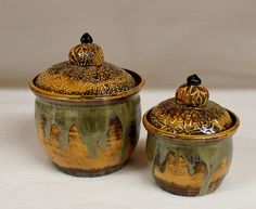 Golden Lace Compact Canister Set Handmade Ceramic Storage