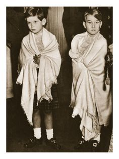 Prince Michael of Kent and Prince William of Gloucester as page boys at the wedding of their cousin The Princess Elizabeth (later Queen Elizabeth II), 1947.