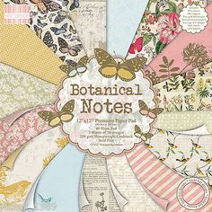 DOVECRAFT Paper 12x12 FULL PACK FIRST EDITION Botanical Notes Scrapbooking