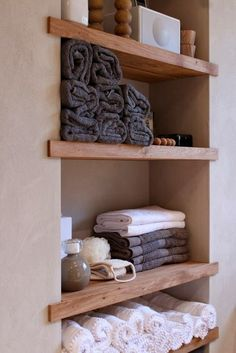 Small Space Solutions: Recessed Storage - Houses, Home, Interior - Bathroom Decor Small Space Storage, Storage Spaces, Storage Ideas, Storage Solutions, Organization Ideas, Bathroom Organization, Storage Design, Shelving Ideas, Storage In Small Bathroom
