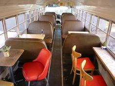 Food Shark in Marfa, Texas Although guests may taste the falafel with romaine lettuce and homemade h Food Trucks, Bus Restaurant, Old School Bus, School Buses, Pizza Truck, School Bus Conversion, Airstream Renovation, Food Truck Design, Truck Interior
