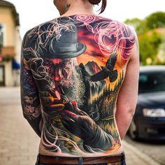 Tattoos ideas for men Full Arm Tattoos, Full Body Tattoo, Back Tattoos, Dog Tattoos, Body Art Tattoos, Tattoos For Guys, Sleeve Tattoos, Tatoos, Painting Tattoo