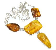 Natural Polish Amber Sterling Silver Necklace