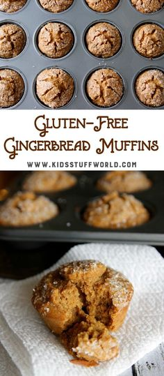 Kids and adults love these gluten-free gingerbread muffins. Sprinkled sugar on top make them an extra special treat