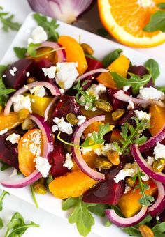 Beet Salad with Goat Cheese and Orange Vinaigrette also has red onion, and a sprinkling of pistachios. This Beet Salad is great on a bed of baby arugula. Roasted Beet Salad, Beet Salad Recipes, Beet Salad With Feta, Salads With Beets, Salad With Oranges, Recipes For Beets, Smoothie Recipes, Kale Salads, Menus Healthy