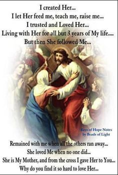 """I love your mother Jesus but Lord you yourself commanded us with these words. """"I am the way and the truth and the life. No comes to the Father EXCEPT THROUGH ME.John obey you only Lord Jesus🌹🌷 Catholic Quotes, Catholic Prayers, Religious Quotes, Catholic Saints, Roman Catholic, Catholic Beliefs, Christianity Quotes, Catholic Catechism, Spirituality"""