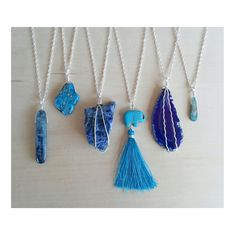 Blue stones are some of my favorites! From left to right- Blue Kyanite, Imperial Jasper, Sodalite, Turquoise Howlite Elephant with silk tassel, Agate, & Blue Kyanite <3