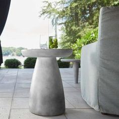 Union Home Bowlero Concrete Outdoor Side Table – Paynes Gray Concrete Outdoor Table, Outdoor Side Table, Concrete Kitchen, Outdoor Seating, Concrete Finishes, Redford House, Indoor, Stability, Curves