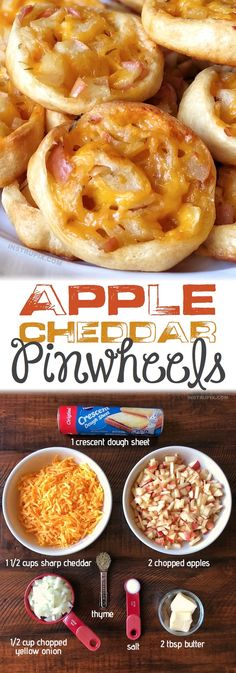 Easy Apple Cheddar Pinwheels Recipe (Baked Appetizer or Snack Idea) Fall Appetizers, Appetizer Recipes, Easy Thanksgiving Appetizers, Vegetable Appetizers, Chicken Appetizers, Tapas, Protein Snacks, High Protein, Thanksgiving Recipes