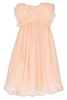 Raindrops on Roses Chiffon Designer Dress in Peach by Minuet  www.lilyboutique.com