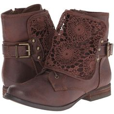 Not Rated Crunchiness Women's Boots ($60) ❤ liked on Polyvore featuring shoes, boots, stacked heel boots, low heel boots, laced boots, lace up boots and laced up boots