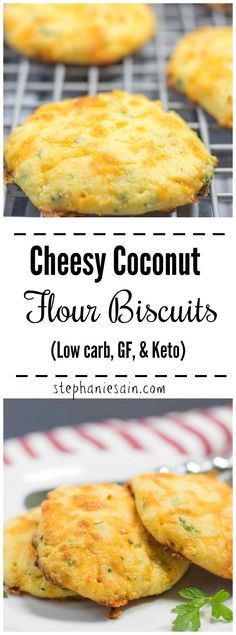 These Coconut Flour Biscuits are loaded with cheese and garlicky flavor. Great for a side snacks breakfast or anytime. A guilt free yummy biscuit that is Low carb GF & Keto. Serve them along side any meal or at gatherings. Super easy to make. Coconut Flour Biscuits, Keto Biscuits, Almond Flour, Bread With Coconut Flour, Coconut Flour Recipes Low Carb, Coconut Oil, Coconut Flour Muffins, Almond Bread, Cheese Biscuits