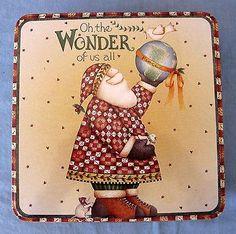 Debbie Mumm Candy Cookie Tin Square Box Container Santa Claus Christmas Wonder