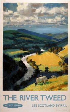 River Tweed British Railways, - original vintage poster by Norman Hepple listed on Posters Uk, Train Posters, Railway Posters, Illustrations And Posters, Poster Prints, Vintage Advertising Posters, Vintage Travel Posters, British Travel, Retro Poster