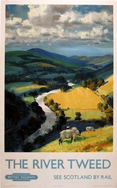 River Tweed British Railways, 1950s - original vintage poster by Norman Hepple listed on AntikBar.co.uk