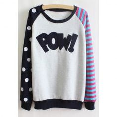 $8.91 Polka Dot Stripe Cotton Blend Long Sleeves Casual Style T-Shirt For Women