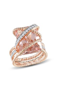 Soft & Sweet: Rose Gold Jewelry  Rectangular Morganite Twisted Design Ring