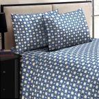 Jill Morgan Fashion Printed Square Navy Blue Microfiber Queen Sheet Set (4-Piece)