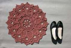 Brown crochet rug 22 inches Doily rug Crochet floor decor Crochet carpet Round rug Textured rug Relief rug Hard rug Door mat Brown decor - pinned by pin4etsy.com