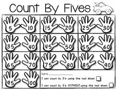100th Day! Count By Fives MATH Poster/Student Helper. You get blackline and color copies plus a preprinted and write in version. $1.25