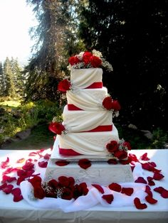Drapes and roses By beckysweddingcakes on CakeCentral.com