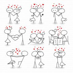Wedding Digital Clipart Stick Figure Marriage Invitations Valentine Day Invitati