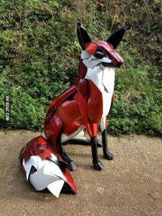 Fox made from Hubcaps