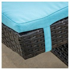 Set of 2 Wicker Patio Adjustable Chaise Lounge with Cushion - blue - Christopher Knight Home