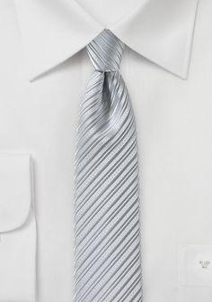 Krawatte schmal Linien-Oberfläche silbergrau