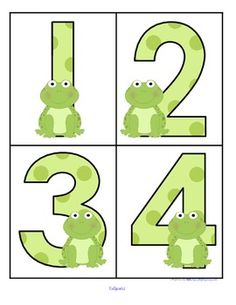 ***FREE***  This is a set of large numbers 0-20 designed with a Frogs theme. 4 to a page. Use to create matching, recognition and number sequence games and activities, plus room display.  I have added a set of 10-frames so that you can make a center.