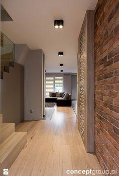 Dom w Rudzie Śląskiej - Realizacja Studio Living, Home Living, Style At Home, Home Interior Design, Interior Architecture, Brick Wall Decor, Townhouse Interior, Modern House Design, Home Fashion
