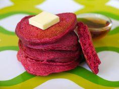Red Beet Pancakes on Weelicious