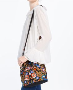 Image 4 of EMBROIDERED BUCKET BAG from Zara