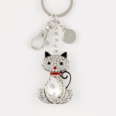 Crystal Cat Bling Keychain - Cat lovers will love this crystal cat keychain. Don't you?