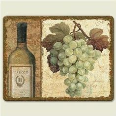 Vineyard Grapes Chateau Tempered Glass Small Cutting Board by Artworks Home Accents. $19.99. Dishwasher safe. Made of durable tempered glass. Safe on knives. Measures approximately 8 x 10 inches. A smaller version of the popular large cutting board, this size is great for parties and entertaining. Plus, it's size makes it easy to stow away. This product was printed and packaged in the USA.