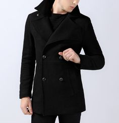 Men's Double Breasted Fold Over Coat