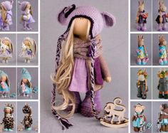Rag doll Art doll Handmade doll Violet doll Soft doll Cloth doll Fabric doll Winter doll Collection doll Nursery doll Textile doll by Alena