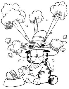 Garfield Coloring Page to print and color for free.