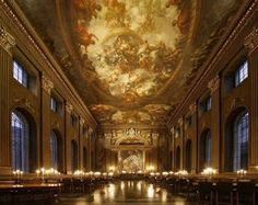 Painted Hall of the Old Royal Naval College in Greenwich, London. Sadly due to defence cuts, this magnificent place hasn't been used by the Royal Navy since the Navy College, Classical Liberalism, Greenwich London, Interior Design Process, Royal Navy, London Travel, Barcelona Cathedral, Backdrops, Old Things