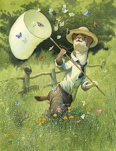 'Catching Butterflies' by Chris Dunn Illustration. A stoat in a meadow chasing butterflies with his large net. Whimsical animal art.