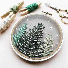 Snowfall, snowy trees on gauze, embroidery ideas