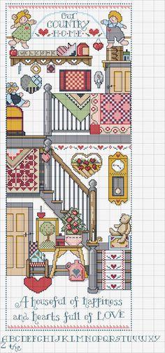 Cross stitch pattern, home-country   una casa piena di felicita' un cuore pieno d'amore