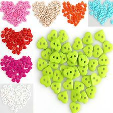 100 Pcs Assorted Heart 10mm Plastic Buttons Sewing Scrapbooking Cardmaking Craft