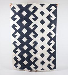 Blue Plus White area rug in 5x7 by gypsya on Etsy